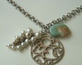 Romantic Vintage Pearl and Amazonite Necklace