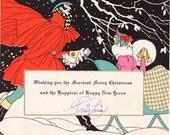 Vintage 1920's Christmas Card - Bright Deco Stylish Gorgeous