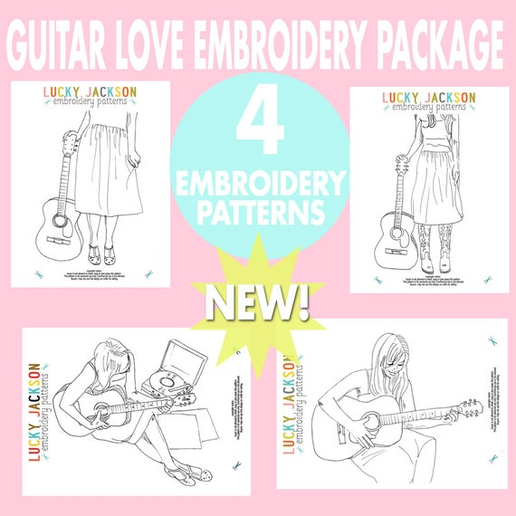 Guitar Love Embroidery Pattern Package