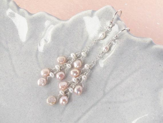 pearl earrings, pink pearl earrings, pearl dangle earrings, sterling silver earrings, earrings for bride, bridesmaid earrings