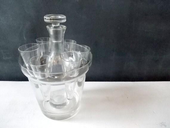 Vintage Bar Set : Glass Carafe, Shot Glasses, Sake Bottle