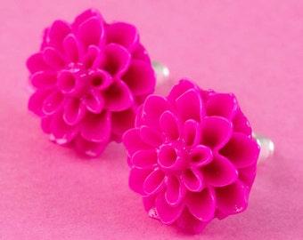Chrysanthemum Flower Ear Posts - Hot Pink