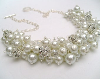 Set of 7 White Pearl and Rhinestone Beaded Necklace, Bridal Jewelry, ClusterNecklace, Chunky Necklace, Bridesmaid Gift