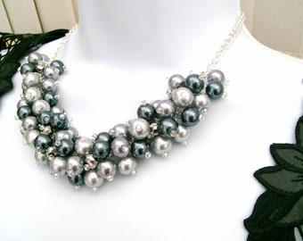 Bridesmaid Necklace, Silver Gray Cluster Necklace, Bridesmaid Jewelry, Pearl Necklace, Pearl Beaded Necklace, Wedding, Chunky Pearl Necklace