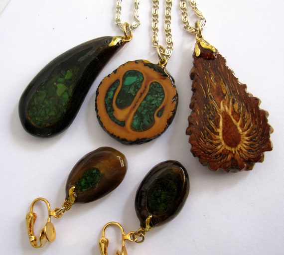 three nature necklaces and ear rings