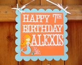Mermaid Birthday Party Sign - Personalized Door - Welcome Guests Sign - Under the Sea Pool Party Decorations - Mermaid Baby Shower
