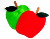 Green and Red Apple Iron On Appliques - No Sew - Great for Onesie - Patch - Transfer