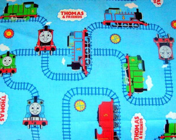 Thomas the Tank Engine And Friends Cotton Fabric - Bright Blue - destash Less than 1 Yard - 32 inches - 2005 Cranston