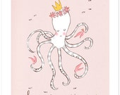 Children's Wall Art Print - Deep Sea Princess - Girl Kids Nursery Room Decor