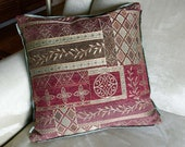 Pillow Cover - Red/Brown/Sage Tapestry 16""