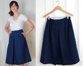 sz 6 60s Deep Navy Blue High Waisted Flared Skirt w/ Pockets