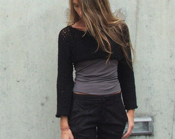 Black Shrug / Black Sweater / Noir Black Isle Chunky Alpaca mix shrug / cropped sweater size medium /