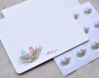 Little Bird Nest with Baby Birds Thank You Note or Personalized Stationery and Sticker Gift Set