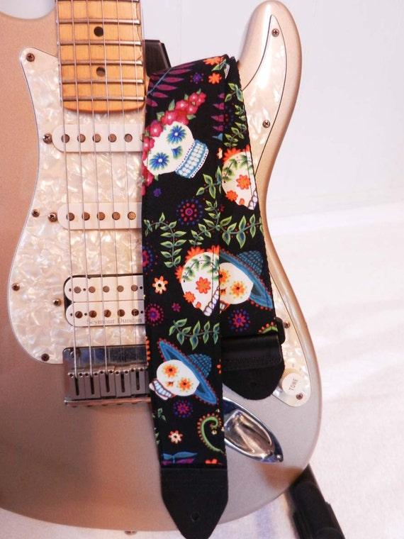 colorful floral sugar skulls mexican guitar strap