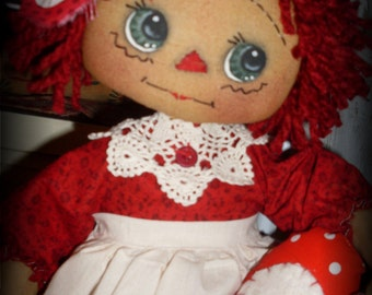 Primitive Raggedy Ann Valentine Be Mine Annie INSTANT DOWNLOAD PATTERN #138 Hafair Faap