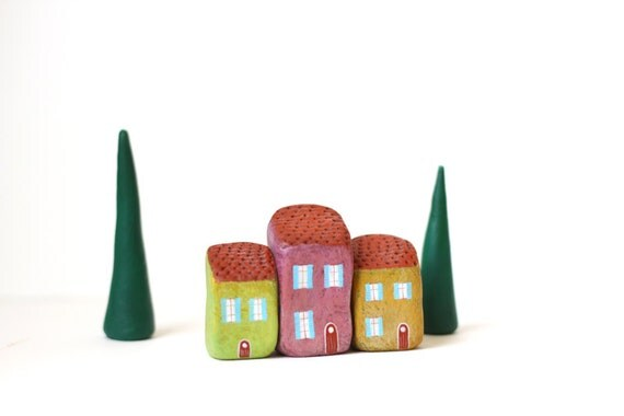 Little Italian village with three houses and two trees