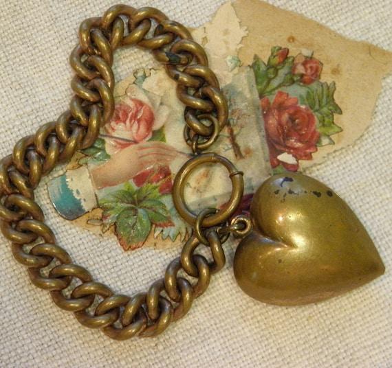 Vintage Big Brass Heart Charm Bracelet