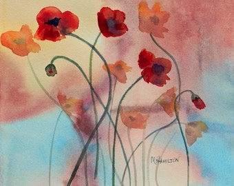 Poppy Abstract Watercolor, Red Poppies Wall Art, Watercolor Original Painting, Foggy Morning Poppies, Red, Pink, Blue, Mary Hamilton Art