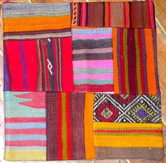Multicolored Kilim Patchwork Pillow Cover