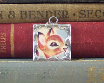 Deer Pendant - Fawn Charm - Soldered Charm with Vintage Bambi Book Illustration - Woodland Animal Jewelry - Bambi Pendant