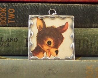 SALE - Kangaroo Pendant - Soldered Glass Charm with Vintage Book Illustration - Australian Animal - Kangaroo Charm - Mixed Media Pendant