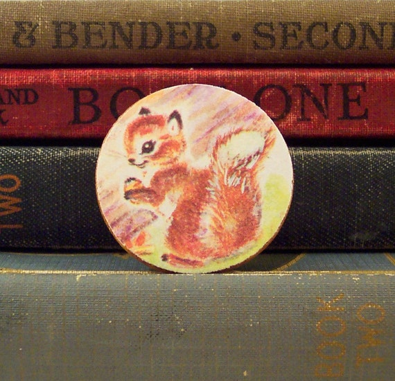 Round Wooden Squirrel Brooch with Vintage Book Illustration