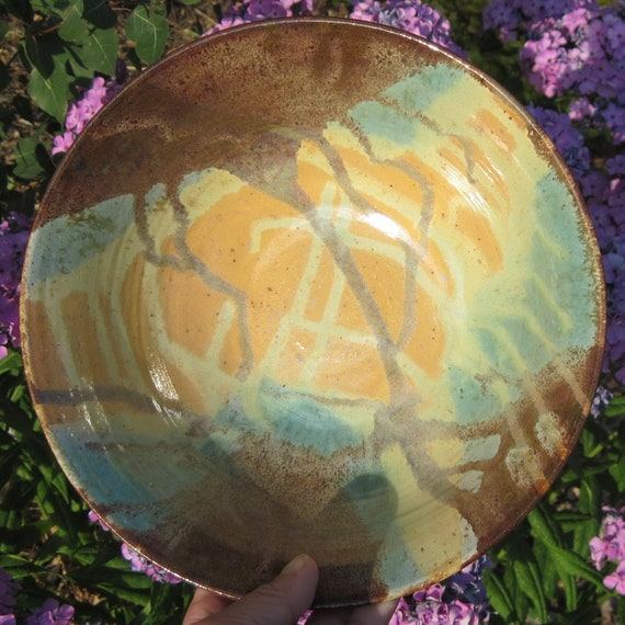 Reserved for Rachel - Pasta Bowl in Pottery - Colorful Serving Bowl - Perfect for Salads too - CARYN - See shop for more Handmade Pottery