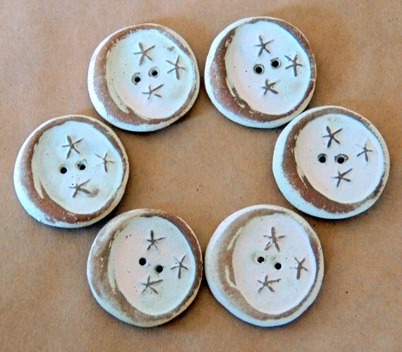 6 Handmade Ceramic Buttons - Moon Buttons -  Rustic Neutral Buttons in Stoneware