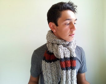 Men's Scarf. Chunky. Handknit.  Ribbed in Pale Gray, Rust, and Charcoal. Fall Accessories for Him.