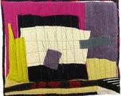 7.8.2012 small art quilt, contemporary, abstract, dusty purple, straw, citron, fuchsia, cream, maroon, gray, black and white
