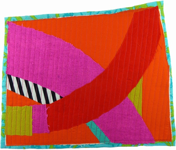 7.2.2012 small art quilt, contemporary, abstract, citron, neon pink, red, orange, black and white stripes, turquoise, lime green
