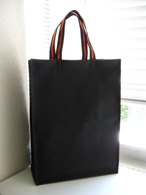 Durable Large Shopping Tote-Black Nylon Canvas w/Orange Straps