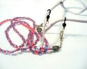 Eyeglass Chain ~ Badge Lanyard ~ Brooch Converter ~ Red Hat Society Colors - O2012-02