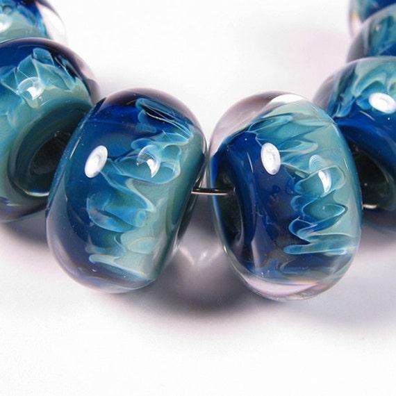 Lampwork Beads - Tidal Blue -  BBGLASSART - Lampwork Boro Beads