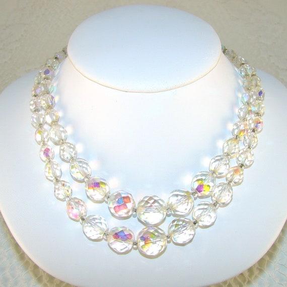 Wedding Jewelry Crystal Necklace Double Strand Aurora Borealis Rhinestone Clasp 50s Vintage