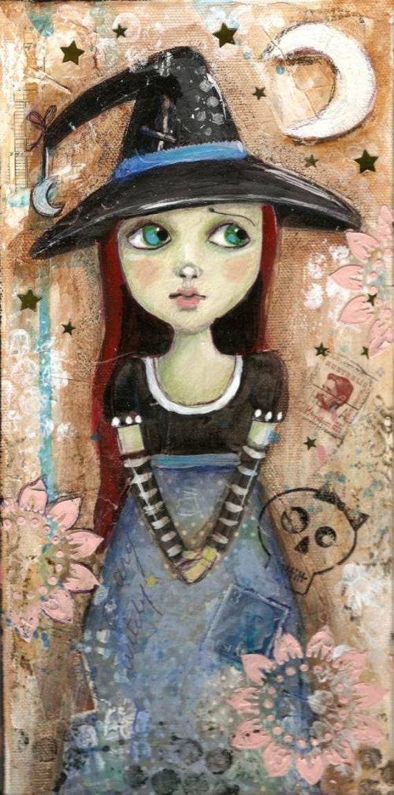 Witch Halloween Original Mixed media painting 6 x 12