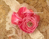 Haute Pink - Hot Pink Rosette with Lace Headband