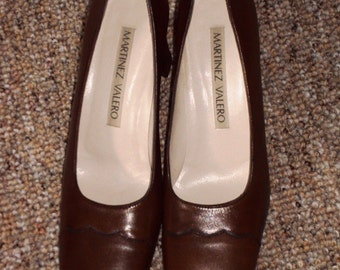 Martinez Valero Vintage Tan Leather Pump Heels Shoes Pre-owned Square Toe Size 8AA 1980s