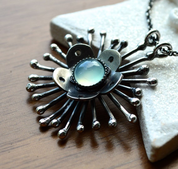 20% Off SALE Use Code BIRTHDAY12 - Dandelion    One of a Kind Necklace in a Unique Botanical Style  Oxidized Silver with Aqua Chalcedony