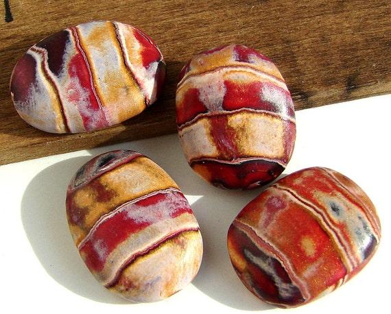 Handmade Polymer Clay Oval Flat Beads - Tuscany