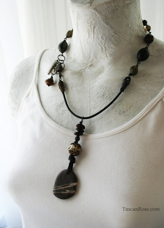 ON SALE - Striped River Rock Amulet necklace