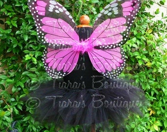 Black Tutu and Wings - Midnight Monarch - Sewn 11'' Pixie Tutu & Butterfly Wings - Toddler, Girls Halloween Costume