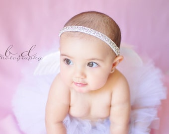 """Infant Angel Tutu and Wings Set - Angel love - Feather angel wings and custom sewn 6"""" tutu - sizes Newborn up to 12 months"""
