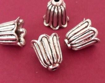 12pcs antique silver cone flower bead caps BC546S