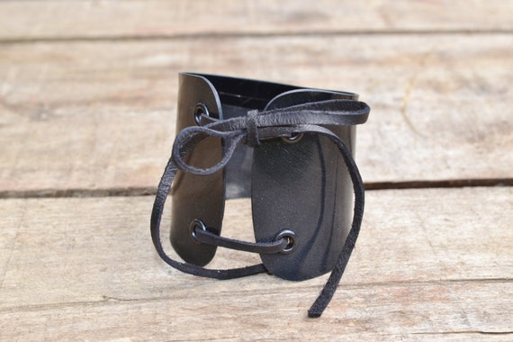 Vinyl Record bracelet, adjustable Vinyl Record Cuff, leather fringes to tie