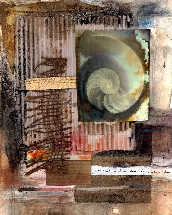 "Sea Shell Art, Nautilus Shell, Ocean Painting, Mixed Media Original Contemporary ""Elemental Tranquility No. 3"" by Kathy Morton Stanion EBSQ"