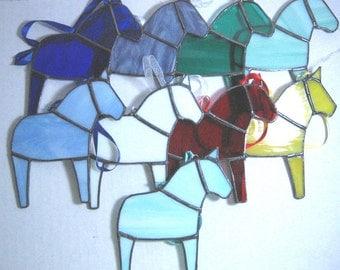 Dala Horse Ornament, Swedish Christmas Ornament, Tiffany Style Stained Glass Horse, Swedish Custom