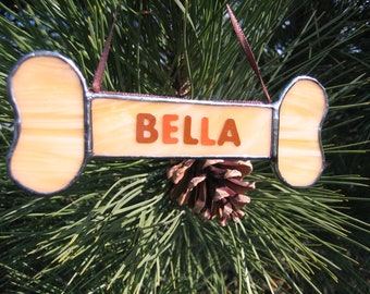 Personalized Dog Bone Ornament, Stained Glass Dog Ornament, Tiffany Style, Dog's Name on Ornament