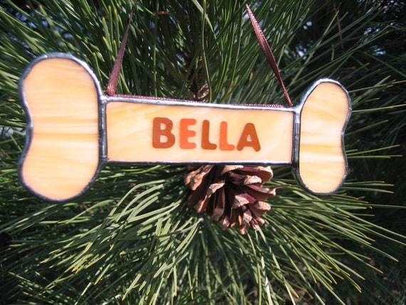 Personalized dog bone ornament stained glass dog ornament for Dog bone ornaments craft