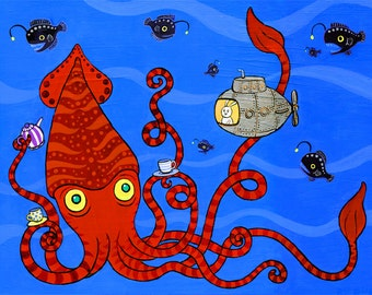 "Giant Squid Bunny Submarine Art Print Deep Sea Tea 8""x10"""